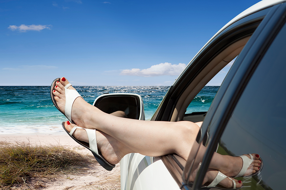 Girl resting in a car broke down